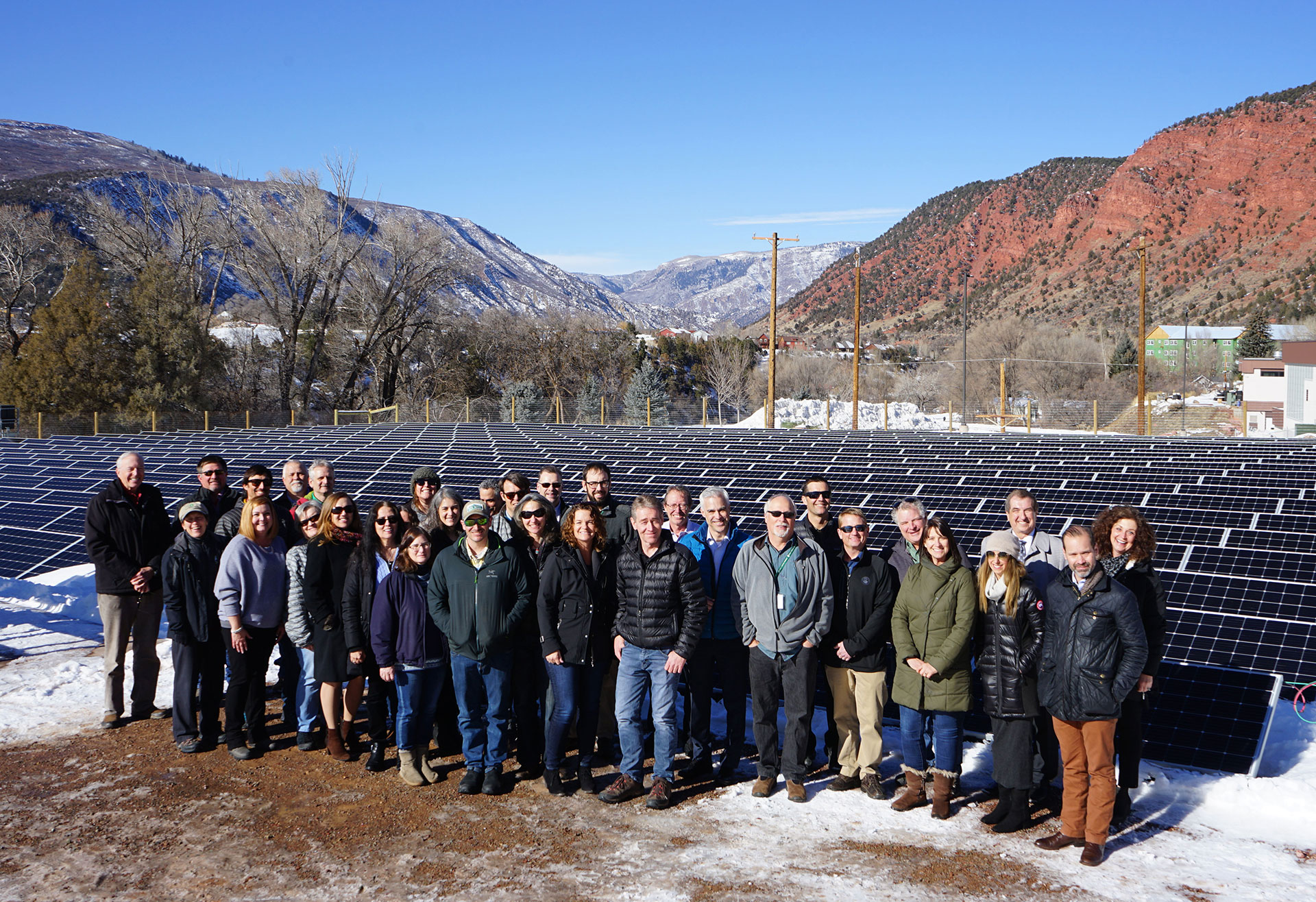 HCE staff in front of campus solar array glenwood springs colorado